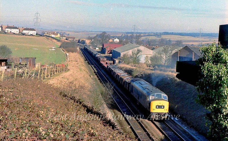 Peaks were not that common south of Cambridge, but here 45008 was recorded about to enter Littlebury Tunnel with a southbound freight on a frosty 3rd February 1979.