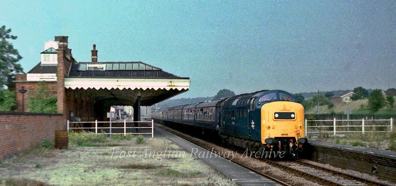 "55015 ""Tulya"" passing Newmarket on a ""Deltic through East Anglian"" railtour on 3rd September 1978. The tour was to Lowestoft from Kings Cross via Cambridge and Norwich. The return trip was down the East Suffolk line to Ipswich and then back to Kings Cross via Cambridge."