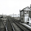 Bury Junction signal box facing east towards Thurston. The line to Thetford is to the left. That to Long Melford to the right.