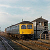 Cravens two car unit forming the 1250 Cambridge to Ipswich passes Fulbourn Box ( BR spelt it with an e)  8th December 1979