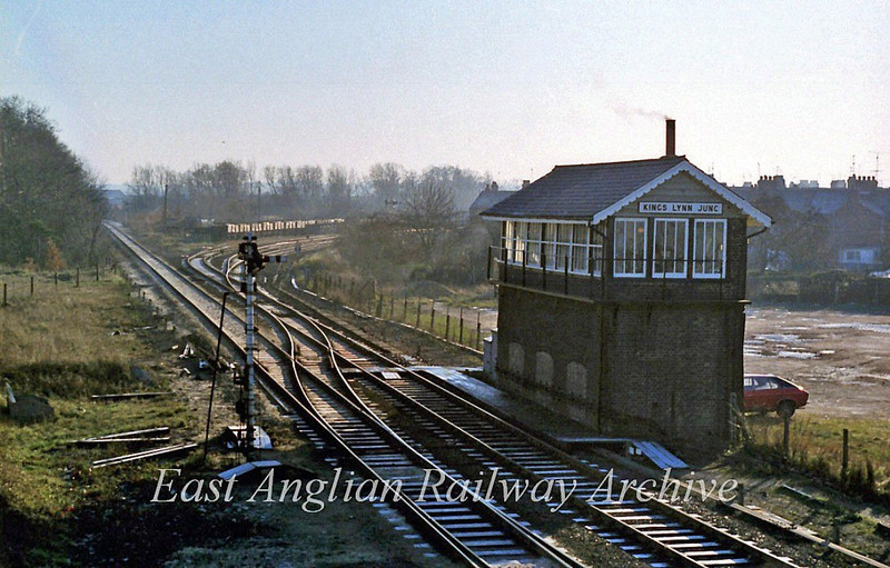 Kings Lynn Junction on 31st December 1979. The line to London curves away to the right while the freight spur to Middleton Towers is ahead. The Hunstanton branch diverged to the left.