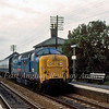 55019 (Royal Highland Fusilier) passes Waterbeach with the 1005 Kings Cross to York during an East Coast Main Line diversion on Sunday 20th September 1981.