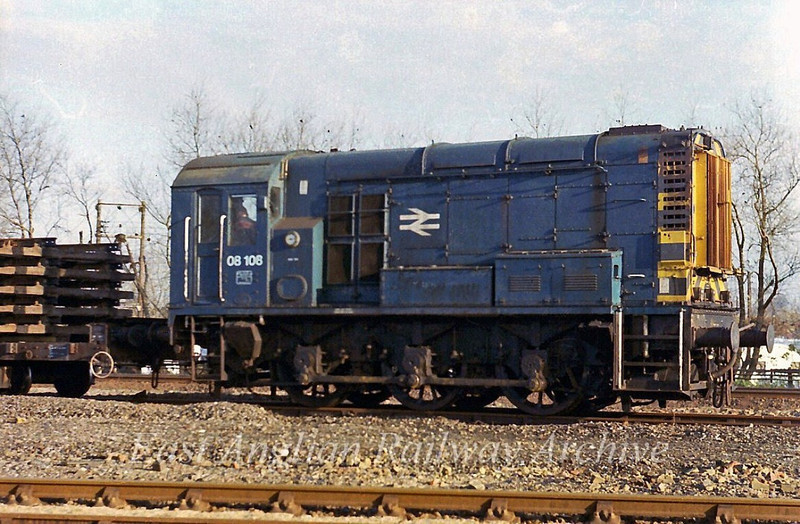 Once a very familiar engine in the Cambridge area, 08108 shunts at Chesterton Junction permanent way depot on 27th November 1978. Withdrawn in 1984, 08108 now resides  at Rolvendon on The Kent and East Sussex Railway with its pre TOPS number D3174. After leaving BR it spent time at Dower Wood Grain Mill near Newmarket.