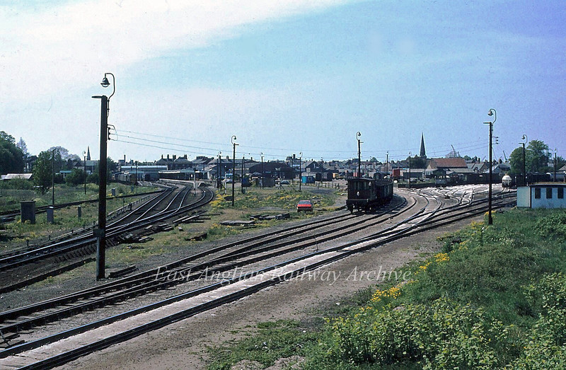 Panoramic view of Kings Lynn Yard and Station.  17th May 1980. The goods yard is now a Morrisons Supermarket.