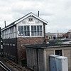 Ely North Junction Signal Box from a passing dmu.  August 1981.