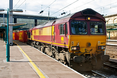 This part of the afternoon becomes busy for freight. 66177 had been sitting waiting for the road to Newcastle for a few minutes before it got underway. Its train is 6E62 TThO 1527 Carlisle Yard to Tees Yard enterprise.