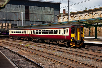 Another impressive livery when sun lit is the carmine and cream adopted by the former Strathclyde Passenger Transport. 156436 is so adorned and forms a Stranraer to Newcastle service.