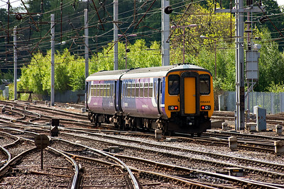 Northern rail liveried 156443 slips away from Citadel station with a class 2 working for the Maryport line, 2C44 1043 Carlisle to Barrow In Furness.