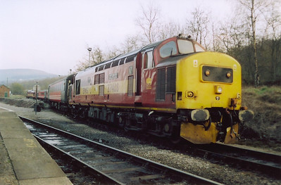 37408 shunts its stock into the yard to allow all the coaches to be serviced.  The loco wears a 40B Immingham shed plate.  1/4/2005