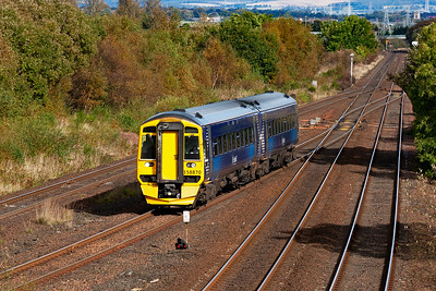 Another occasion at Greenhill Lower Junction and 158870 in the new Scotrail livery heads for Glasgow with 2J45 1343 Falkirk Grahamston to Glasgow Queen Street bathed in lovely autumnal sunshine.  6/10/2012