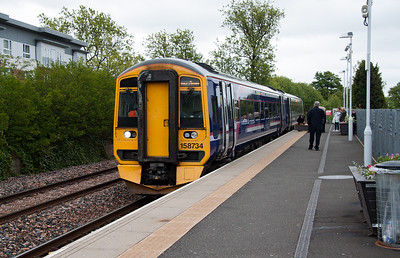 The new station at Alloa was opened on 19 May 2008 after the line from Stirling to the site of Kincardine Power Station was rebuilt.158734 waits at Alloa station with 2N56 1036 Alloa to Glasgow queen Street.  Alloa loco shed stood opposite in the area now occupied by the flats to the left of shot.  1/6/2015