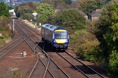 Meanwhile back on terra firma and 170470 runs uphill to Greenhill Upper with 2N52 1436 Alloa to Glasgow Queen Street.