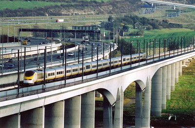 An unknown Eurostar set drops downgrade over the Medway Viaduct heading for the Tunnel. The working is 9036 1511 London to Paris.