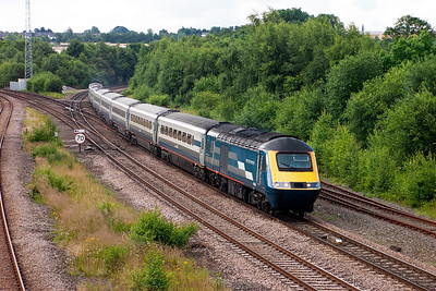 Midland Mainline 43104 leads 43054 off the Derby road at Clay Cross with train 1F10 0825 St Pancras to Sheffield.