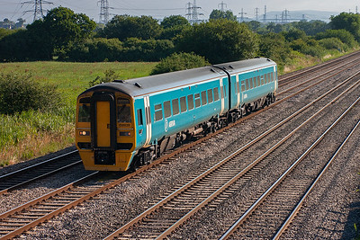 Being west of Newport means that traffic to and from Cardiff and points west that use the Welsh Marches route are seen. This brings different units and workings. This is 158828 on 1V70 0555 Crewe to Carmarthen.