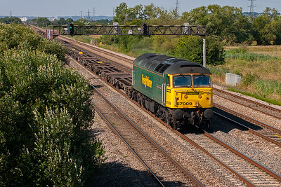 Cardiff Wentloog Freightliner terminal is just a few miles away. 57009 is now homeward bound with 4O51 1002 off Wentloog for Southampton. The train carries just three containers.