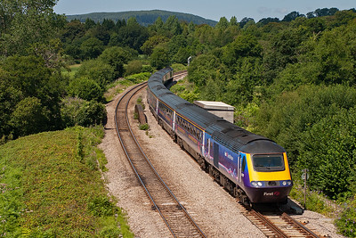 No doubt about this HST in FGW's new livery as lead powercar is 43009, fitted with a new MTU 16V4000 power plant. The train is 1L62 1230 Swansea to Paddington.