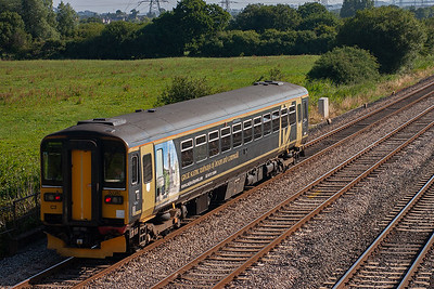Many of the units which ply their trade on the branch lines of Devon and Cornwall and the West Country have been given vinyls that promote their sphere of operation, 153380 is one such unit. It is diagrammed to 2C67 0900 Cardiff Central to Taunton.