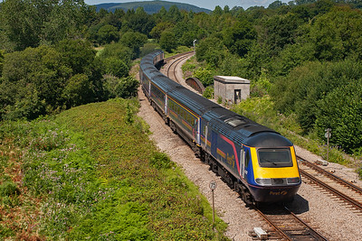 Moving on to Pont Tal Y Bont to the west of Cardiff at the west end of Miskin loops. An unknown HST passes over the bridge over the Ely River with 1B25 1045 Paddington to Swansea.
