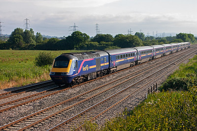 A down HST charges west with 43030 leading 43182, the train is 1B05 0645 Paddington to Swansea.