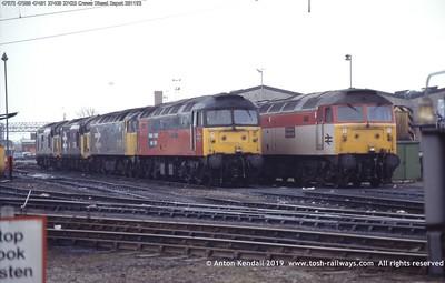 47972 47588 47481 37408 37425 Crewe Diesel Depot 281193