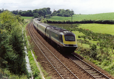 """An up train on the way down, down Rattray Bank that is! 43185 is on the front of the HST set working 1A76 1346 Penzance to Paddington, the up """"Royal Duchy""""."""