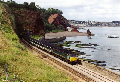 The rare sight of a loco hauled train passes by Horse Cove with 47813 at the head of 1C33 1233 Paddington to Plymouth.