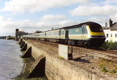 In the morning sunshine, 43021 leads the first up service off Penzance to London Paddington, train ID is 1A36 0622 off the western terminus.