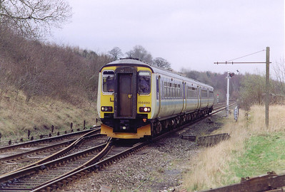 A down train approaches Culgaith with a class 2 local working. 156490 and 156484 forms 2H82 0847 Leeds to Carlisle.