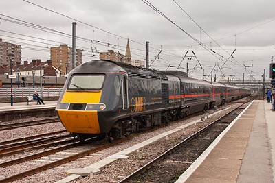 This northbound HST is not booked to stop at Doncaster and blasts through with 43120 leading 1S12 1030 Kings Cross to Aberdeen GNER working.