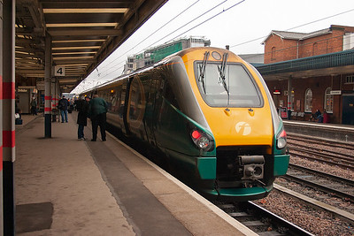 Hull Trains Pioneer unit 222104 pauses at Doncaster during its journey from Kings Cross to Hull, 1H05 1335 off the capital.