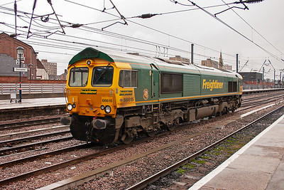 Freightliner Heavy Haul 66615 passes north through Doncaster bound for the depot at Leeds Midland Road. It has come from Peterborough Nene Carriage Sidings.