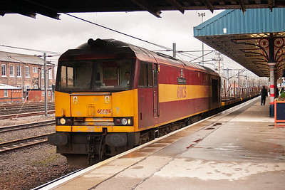 66025 is recorded for the third time this day and its train is 6D88 1439 Goole Docks to Scunthorpe empty steel. The load is 9BEA and BDA wagons, 2 BYA and 5 BXI wagons. The train is heading at Adwick as part of the journey.