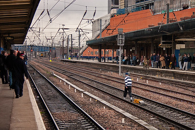 He walked up and down the lines a few times before scaling the fence into the Wabtec yard. He was later caught and charged with assault and the fashion offence of tucking his tracky bottoms into his sports socks. Twat!!