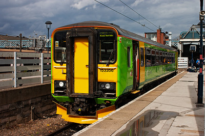 """Bubblecar, or """"dogbox"""" as they were christened on this day, 153356 sits in the south facing bay platform with a class 2 service. It will form 2K25 1304 off to Lincoln."""