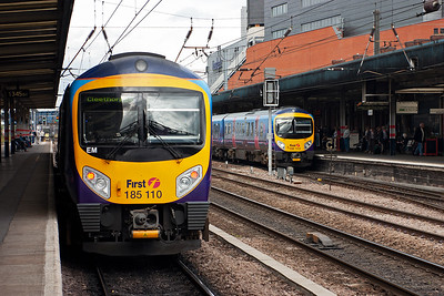 Here is another pair of Transpennine class 185 Desiro units crossing on reciprocating trains. 185110 is heading for Cleethorpes, 1B76 1152 from Manchester Airport and pauses in platform 3. Over in platform 2 is sister unit 185113 which left Cleethorpes at 1228 with 1B79 to Manchester Airport.