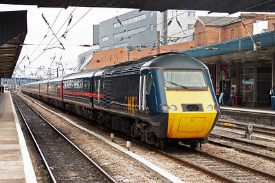 """I come all the way south to Doncaster and I could have driven to Ladybank to see this train. 43006 is the rear powercar of 1S12 1030 Kings Cross to Aberdeen as it speeds on the down through road heading for """"home"""" as it is named """"Kingdom of Fife""""."""