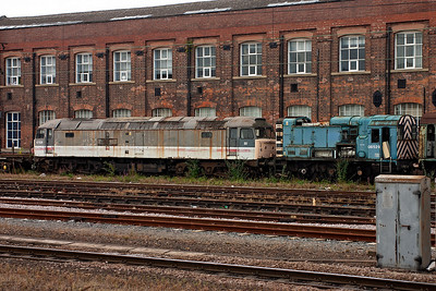 Also up against the wall are long withdrawn 47528 and 08529.