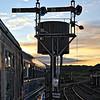 Downpatrick Station signals at Dusk.
