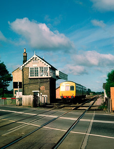 Class 101 DMU 51441 54384 leaving Foxton 08.14 Cambridge- Royston 20/7/85