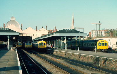 Class 105 and 101 DMUs at Norwich 24/11/84