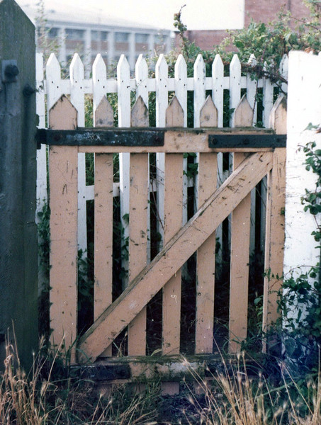 A typical example of a pedestrian wicket gate used on the line. This one at Kings Hedges Crossing. 11th August 1979.