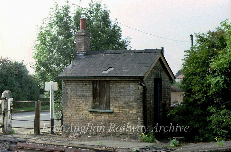 Oakington crossing keepers hut built in the same style as others along the line. The hut was demolished in the early eighties. Image dated 10th September 1979