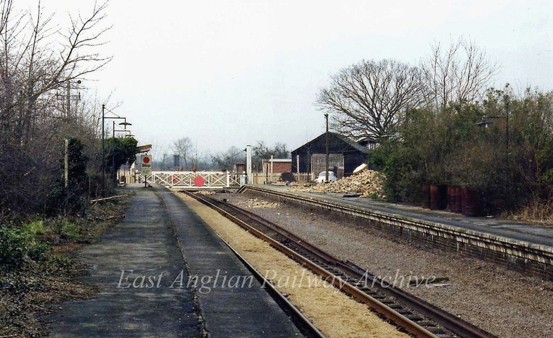 Swavesey facing west towards St Ives on 12th March 1978. The pile of rubble on the up platform is the remains of the station house (next photo). This scene has now been totally obliterated during construction of the guided busway.