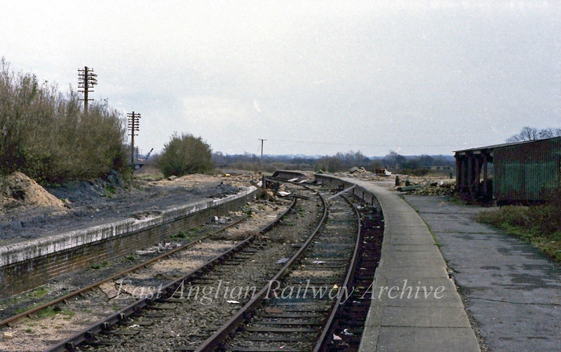 Dereliction at St Ives on 12th March 1978. The view is towards Swavesey.