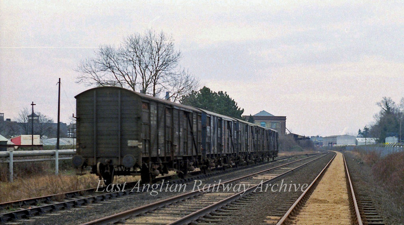 A rare shot of five transfesa ferry vans, I think standing on the old up goods loop at Histon on 9th February 1980. The vans contain  Seville oranges from Spain used in the production of marmalade at the nearby Chivers Factory. The deliveries were seasonal and ceased in 1983. The view is facing Histon Station. The signal box can just about be made out in the far distance. It looks like a recent delivery as the vans appear to be still loaded.