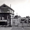 Long Stanton signal box and gates on 27th October 1973. The gates were operated by a wheel in the box.