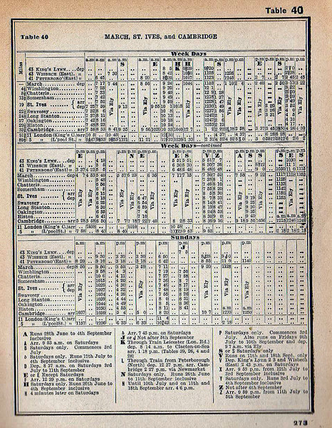 March-St Ives-Cambridge timetable from the summer of 1954. Column HK on the weekdays timetable is a through train from Leicester to Clacton which ran summer Saturdays only. See next picture.<br /> <br /> Column J on the Sunday timetable is a through train from Hunstanton to Histon which ran non stop from Kings Lynn to Wimblington via Magdalene Road, Wisbech and March.