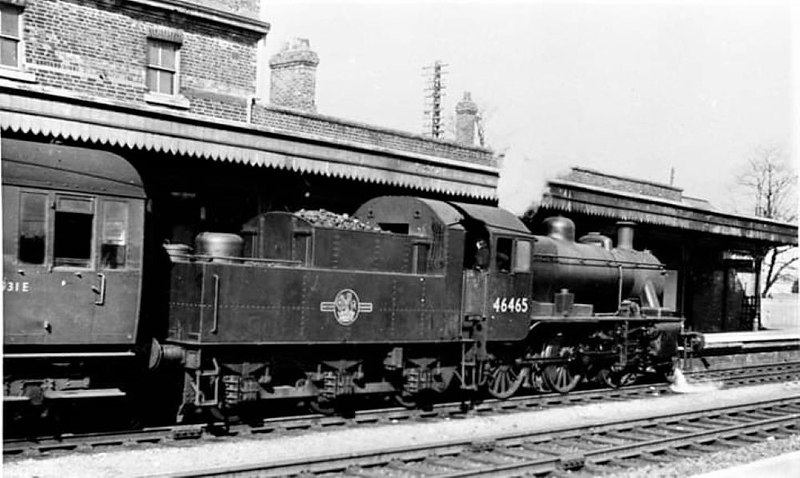 Ivatt Class 2MT 46465 was a familiar engine  on shunting duties at Chivers Sidings in the early sixties. It is seen here at Ely,