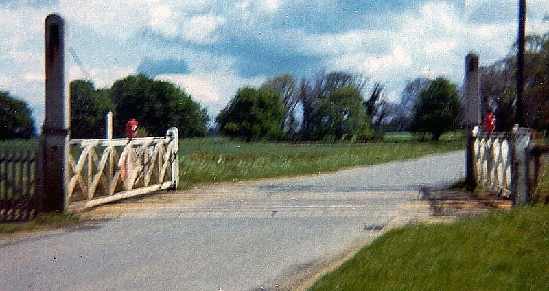 Very poor image of Girton Road crossing (No 15) in April 1973. Note British Railways called it Girton Road Crossing so I have used their description. It is also known locally as Park Lane crossing or Meadow Road.